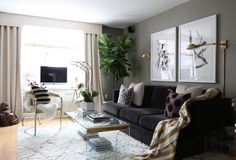 Victoria Solomon's New York City Apartment Tour - living room wall color, double portraits on wall, fig leaf tree.