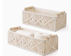Storage Bins With Lids, Collapsible Storage Bins, Under Shelf Basket, Basket Shelves, Toilet Paper Crafts, Wood Basket, Boho Room, Macrame Design, Macrame Projects