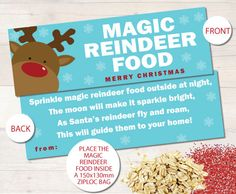 Magic Reindeer Food Christmas Bag Toppers by BUSYLITTLEBUGSshop