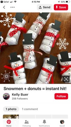 Easy Christmas Gifts for Kids on a Budget – Snowmen Donuts - Kinder Weihnachten Homemade Christmas Gifts, Christmas Gifts For Kids, Christmas Goodies, Simple Christmas, Christmas Projects, Winter Christmas, Christmas Holidays, Christmas Decorations, Christmas Class Treats