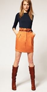 Love this outfit, especially the orange skirt!