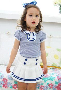 Vindie Vintage Inspired Shabby Chic Blue Infant Baby Girl Spring Summer Dress