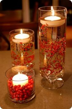 I love this for a classy centerpiece. It's beautifully red and fall. $15 for taller vase $30 for all 3