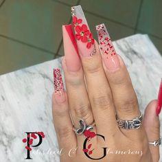 Acrylic Nail Designs Glitter, Acrylic Nails Coffin Pink, Long Square Acrylic Nails, Summer Acrylic Nails, Fire Nails, Hot Nails, Mexican Nails, Hot Mess, Nail Manicure