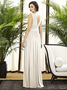 Dessy Collection Style 2890 - Full length lux chiffon dress w/ v-neck and matte satin bodice, Ivory.