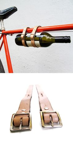 Leather Loop and Buckle Bike Straps... Wine or a blanket.