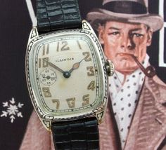 "Men's 1928 Enamel ""Marquis"" Illinois Wrist Watch 
