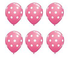 Set of 6 Pink Polka