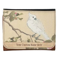 Bird and Flower Album, Cockatoo and Camellia Leather Wallets #Bird and Flower Album, #Cockatoo and #Camellia #Matsumoto #Keibun #japanese #oriental #customizable #gifts and #accessories from Zazzle #gift #art #vintage #parrot #Japan #flower