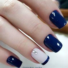 Elegant Nails, Classy Nails, Stylish Nails, Simple Nails, Trendy Nails, Blue Acrylic Nails, Acrylic Nail Designs, Blue Nails, Short Gel Nails