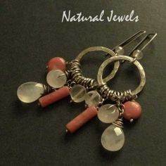 Earthy Rosequartz - sterling silver earrings with stones ofRosequartz and Rhodonite - Made by Natural Jewels