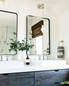 Laguna Beach Cottage – Greige Design Bright white modern California Coastal retreat bathroom by greige design shop + interiors in Laguna Beach, Ca. Decor, Diy Bathroom, Bathroom Trends, Bathroom Styling, Metal Frame Mirror, Bathroom Flooring, Bathroom Design, Bathroom Decor, Boho Bathroom