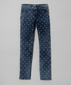 Take a look at this Blue Polka Dot Skinny Jeans - Toddler & Girls by Miss Jeans Premium on #zulily today!