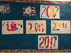 2017 mixed collage, pom poms, tissue squares, foil, snowflakes from paper plate inside,