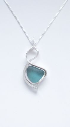 Sea Glass Jewelry - Sterling Rare Turquoise Sea Glass Abstract Necklace by SignetureLine on Etsy