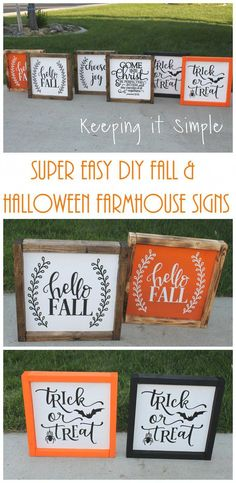 Excellent Photographs Super Easy Diy Fall And Halloween Farmhouse Signs Style .Excellent Photographs Super Easy Diy Fall And Halloween Farmhouse Signs Style Super Easy DIY Fall and Halloween Farmhouse Signs Fall Wood Crafts, Easy Fall Crafts, Fall Diy, Diy Crafts, Decor Crafts, Holiday Crafts, Sock Crafts, Design Crafts, Felt Crafts