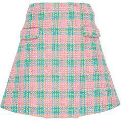 Emilio de la Morena Amber Plaid A-Line Skirt (3,665 MYR) ❤ liked on Polyvore featuring skirts, plaid, pink plaid skirt, high-waisted skirt, high waisted a line skirt, tartan skirt and pink a line skirt