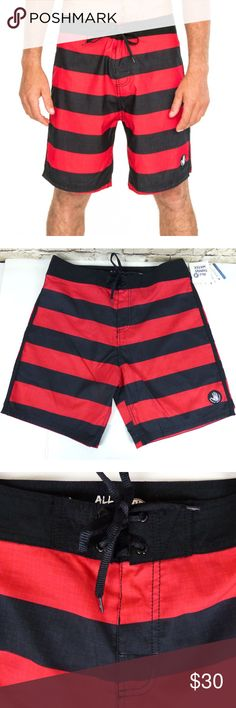 """Men's Body Glove Pirates Ahoy Striped Board Short New with tags, men's Body Glove Ventura Pirates Ahoy 19'' Boardshort in Black & Red Stripes.  Size/Measurements: Marked Size: 34 Front Rise: 13 ½     Inseam: 8 Outseam: 19 ½   Leg Full Opening: 24 ½  Back Rise: 16   Details: 19"""" out seam, contrast drawstring waist and side stripe, no fly, back pocket with flap, mesh pocket bag, and key loop. Soft microfiber, water repellent and incredibly durable board shorts. Quick to dry and cool to the…"""