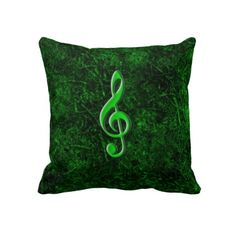 Travesseiro dorsal do símbolo verde da nota da mús