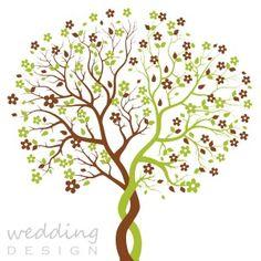 Fa motívumos egyedi esküvői meghívó