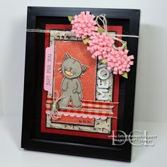 Just Fur You Frame featuring Ivory/Red Gingham ribbon and Ivory Jute - by Danielle Lounds