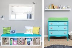 There are certain things about this nursery that I just LOVE... the pops of aqua and green against the light grey - the bits of yellow with the aqua and green look great! I love the reading area and changing table... I could easily make mismatched furniture match (and fit my vision) by painting them aqua or lime! LOVE that idea... And I love the funky knobs! I dont love the black - but you could get chalkboard paint in another color.