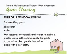 Green cleaning recipe for mirror and window cleaner