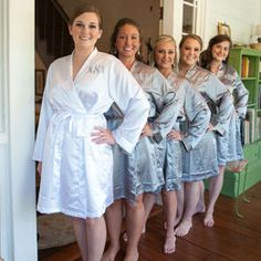 Your bridesmaids will love wearing these silk robes as they get ready on your wedding day! Silk/satin robe with embroidered name or monogram included. This listing is for one robe. Brides And Bridesmaids, Bridesmaid Dresses, Wedding Dresses, Bridal Party Robes, On Your Wedding Day, Wedding Styles, Wedding Ideas, Cool Outfits, Silk