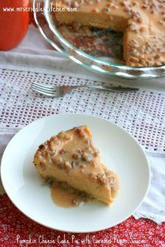 pumpkin cheesecake pie with caramel pecan sauce - sugar free, gluten free, low glycemic
