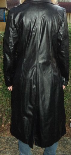 Ledermantel Kunstledermantel lang 42 schwarz | eBay