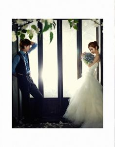 "I love blue ! Would love my groom to wear like that <3 her gown ~ :s Yonghwa and Seohyun - ""We Got Married"" Wedding Shoot"