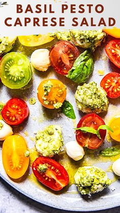 We have this Caprese Salad all summer long, on repeat! It's that good! Drink Recipes, Soup Recipes, Chicken Recipes, Dessert Recipes, Avocado Tuna Salad, Caprese Salad, Best Italian Recipes, Basil Pesto, On Repeat