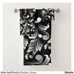 Silver Leaf Floral Bath Towel Set Bath Towel Sets, Bath Towels, Holiday Cards, Christmas Cards, Floral Bath, Christmas Card Holders, Keep It Cleaner, Colorful Backgrounds, Duvet Covers