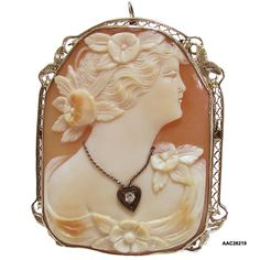 """Antique Edwardian Carnelian Shell Cameo Of """"Flora, The Roman Goddess Of Flowers And The Season Of Spring"""" Wearing A Diamond Necklace And Set In A 14k White Gold Frame"""