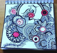 Dessin mandalas zentangle esprit asiatique zen par Aurélie Lemoine  #dessin #drawing #zentangle #tangle #art #sketch #sketchbook #mandala #mandalas #zen #asiatique #encre #feutre #staedtler #bnw #red #oiseau #bird #doodle #draw #detail #visual