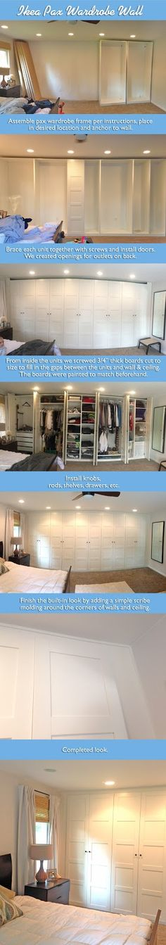 Prepare for major closet jealousy! Click to see a master bedroom remodel featuring an entire wall of IKEA PAX wardrobes!