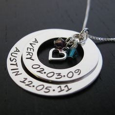 Personalized Mother Necklace w/ TWO 2 crystals & heart charm - Birthstone…