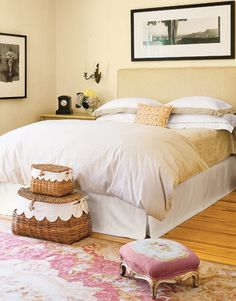 Neutral Bed  This no-frills quilted velvet headboard creates an uncluttered backdrop for serene sleep.