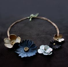 Leather flower statement necklace - Floral boho fashion jewelry - Bib necklace - Fall Winter jewelry. $76.00, via Etsy.