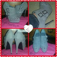 Shoe dazzle booties!! Adorable studded grey booties, new in dust bag, never worn!! Need a new cooler home!!?? Shoe Dazzle Shoes Ankle Boots & Booties