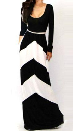 Black And White Floor Length Long Sleeve Dress