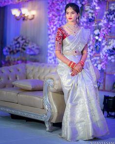 Latest Bridal Saree Designs are Pastel Shades of Kanjeevaram Bridal saree collection. Peach shade sarees, Lilac bridal sarees, Purple kanchipuram sarees, Turquoise Sarees, Mint shade saree designs and many more collection in handloom sarees Bridal Sarees South Indian, Bridal Silk Saree, South Indian Bride, Saree Wedding, Indian Bridal, Indian Sarees, Silk Sarees, Kanjivaram Sarees, Indian Wedding Sarees