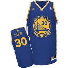 Adidas NBA Golden State Warriors 30 Stephen Curry New Revolution 30 Swingman Road Blue Jersey