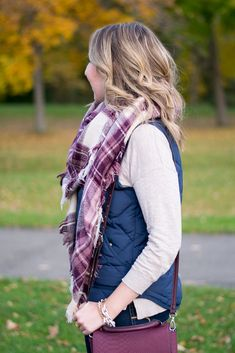 Nordstrom, BP blanket scarf, wine blanket scarf, berry blanket scarf, burgundy blanket scarf, oxblood, berry for the holidays, pink blanket scarf, J Crew Factory, excursion vest, navy vest, puffer vest, side slit booties, Steve Madden booties, wine crossbody, layers, fall layers, blanket scarf and vest, neutral, v-neck sweater, fall fashion, fall style, fall outfit, 2016 November style, how to wear a blanket scarf, Thanksgiving outfit, what to wear for Thanksgiving // Emillion Thoughts