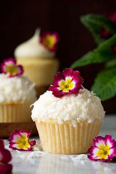 Soft and fluffy coconut cupcakes topped with a rich coconut buttercream frost...