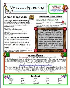 classroom weekly newsletter template | Newsletter Linky Party
