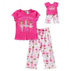 Your little ballerina and her dollie will love to twirl around in this adorable sleep set!