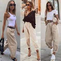 Slouchy jeans 💥~ Which look is your favorite 2 or _______________________________________________ . Basic Outfits, Mode Outfits, Casual Outfits, Fashion Outfits, Womens Fashion, Fashion Trends, Elegant Summer Outfits, Jeans Fashion, Simple Outfits