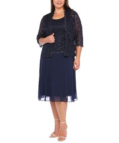372ce41ce4c R M Richards Navy Sequin Lace Dress   Jacket - Plus