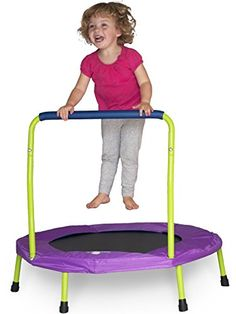 Mini Trampoline with Handle for Kids and Toddlers (Exclusive Lime Green & Purple)